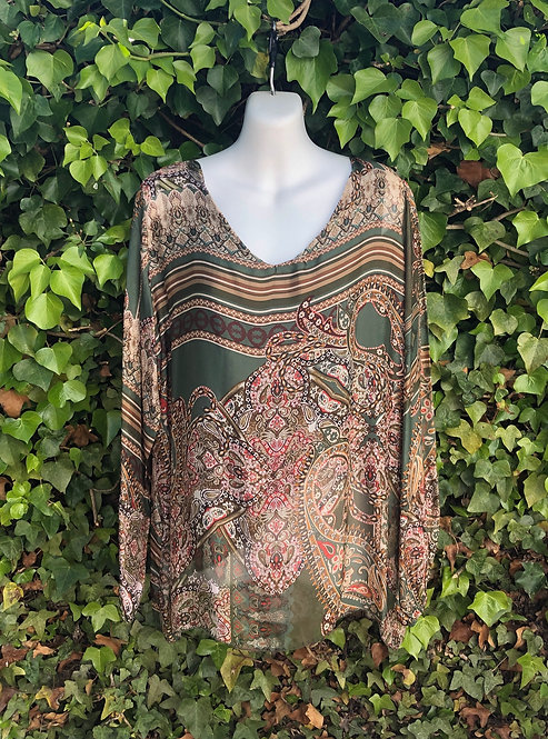 Long Sleeved Silk Top Green Pattern
