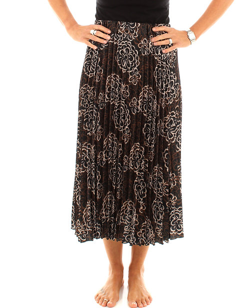 Floral Pleated Skirt Brown