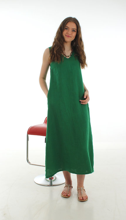 Long V Dress Green