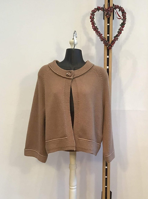 Top Button Cardigan Camel