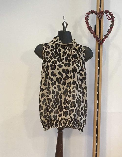 High Neck Leopard Print Blouse
