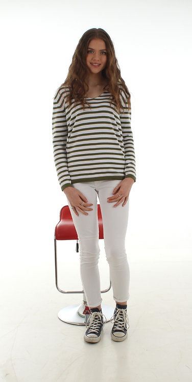 Stripe Jumper White and Olive Green