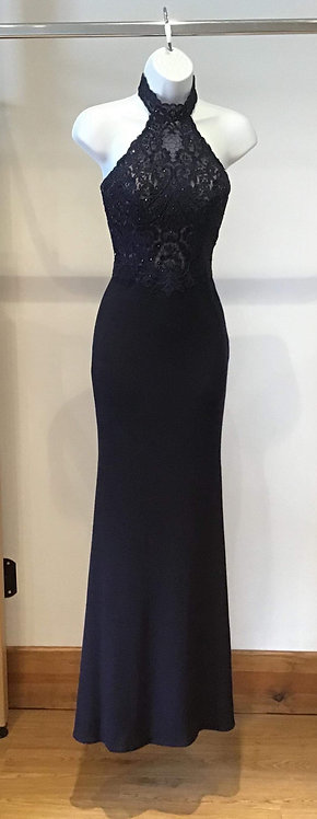 Navy Halter Neck Jersey and Lace Bodice