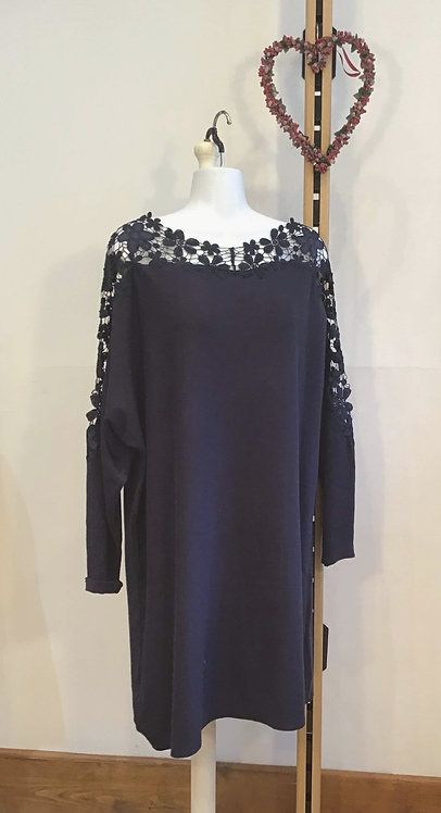 Flower Lace Dress Navy