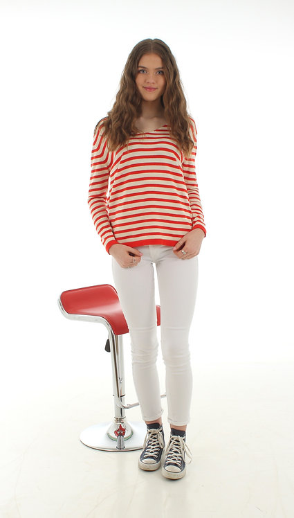 Stripe Jumper Cream and Red