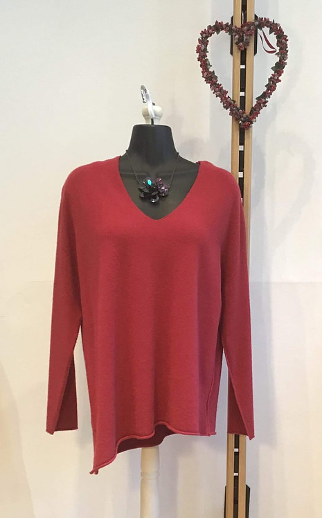 Diagonal Hem Knit Red