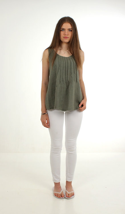 Pleated Linen Top Green