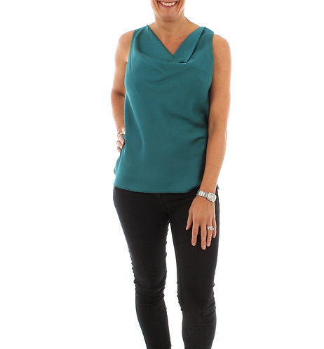Dark Turquoise Sleeveless Cowl Neck Top