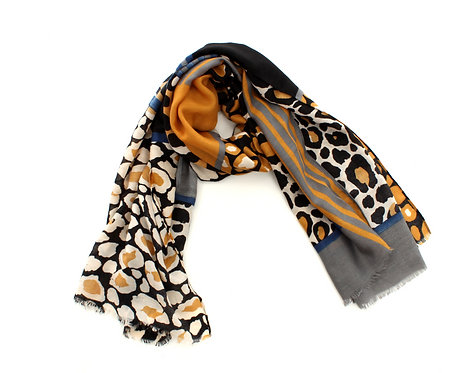 Animal Print Scarf Mustard, Black and Grey