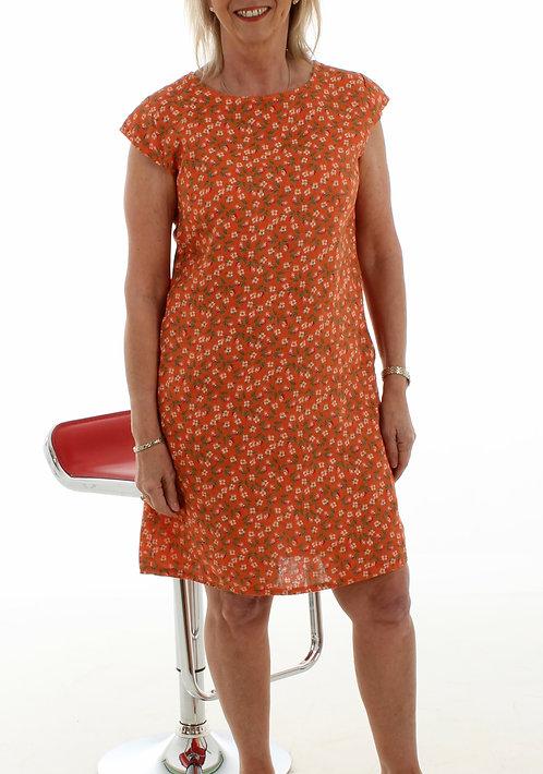 Floral Linen Dress Orange