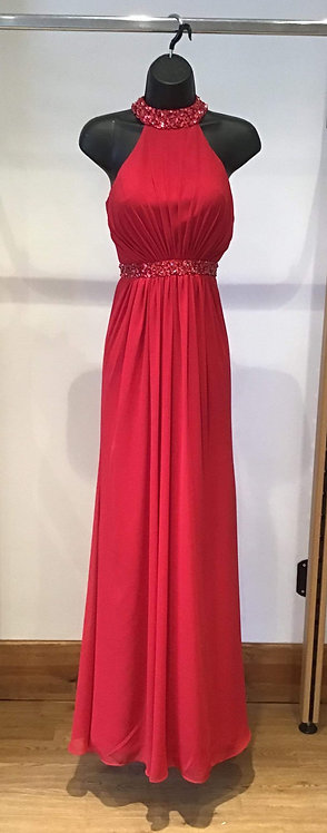 Jora Red Chiffon Halter Neck Dress