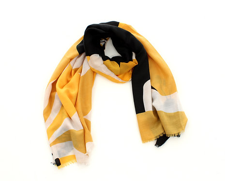 Flower Scarf Black, White and Yellow