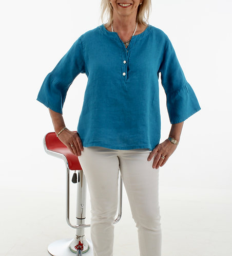 Bell Sleeve Linen Top Turquoise
