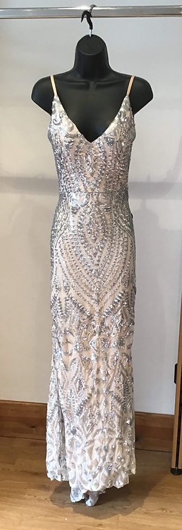 Backless Silver/Blush Sequin Dress