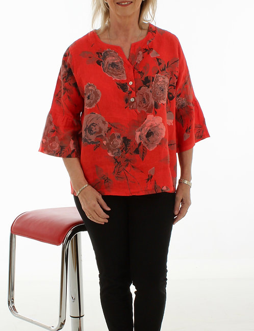 Bell Sleeve Linen Top Red Floral