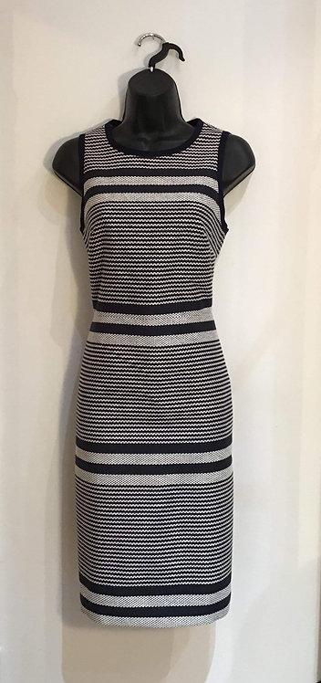 J Crew. Stripe Navy Dress