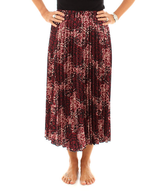 Floral Pleated Skirt Red