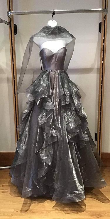 Grey Boned Bodice Chiffon Layered Dress