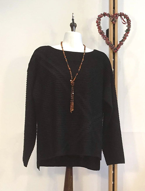 Ribbed Slash Neck Knit Black