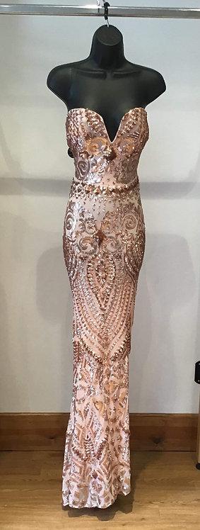 Plunge Sequin Strapless Dress