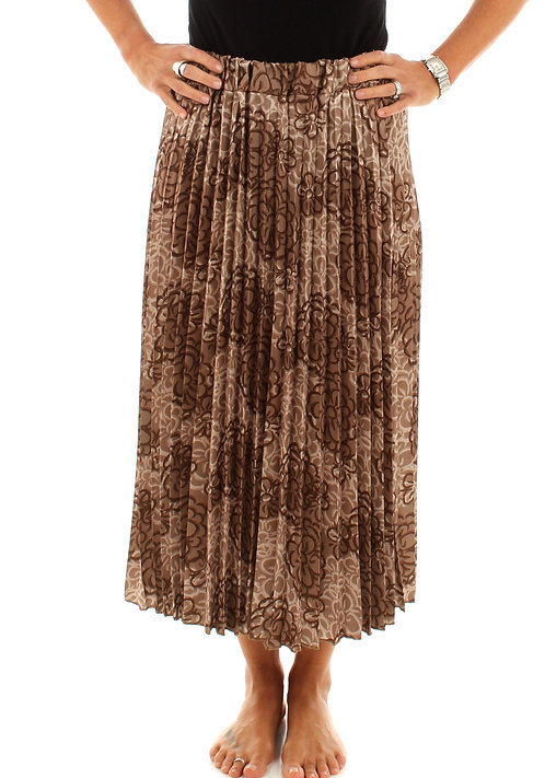 Floral Pleated Skirt Light Brown