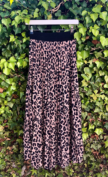 Leopard Print Pleated Skirt Brown