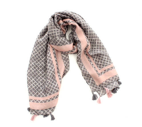 Diamond Scarf Grey and Pink