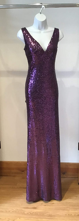 Purple Stretch Sequin Low Back Dress