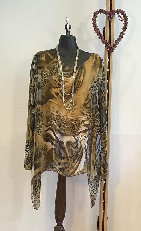 Leopard Print Silk Blouse Mustard