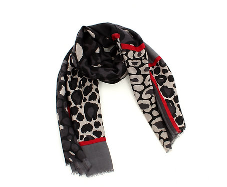 Animal Print Scarf Black, Grey and Red