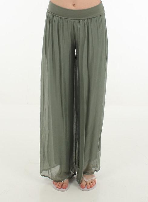 Silk Trousers Green