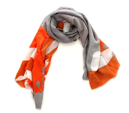 Floral Scarf Orange, Grey and White