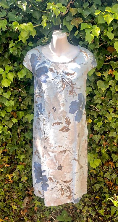Powder Blue and Beige Flower Dress