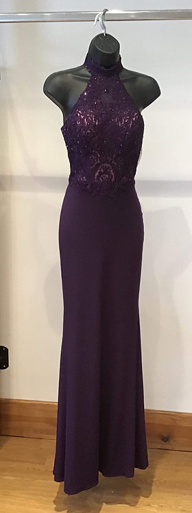 Purple Halter Neck Jersey and Lace Bodice
