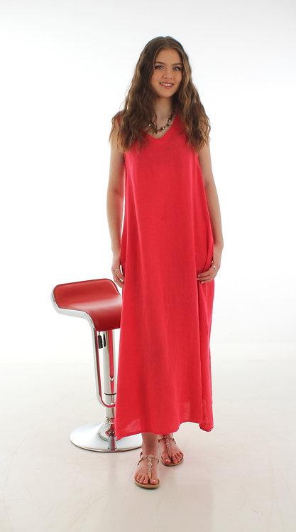Long V Dress Fuchsia