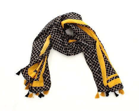 Diamond Scarf Black and Yellow