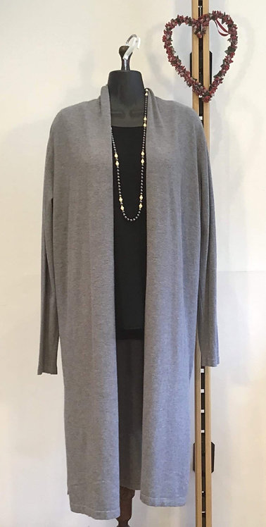 Drawstring Back Cardigan Grey