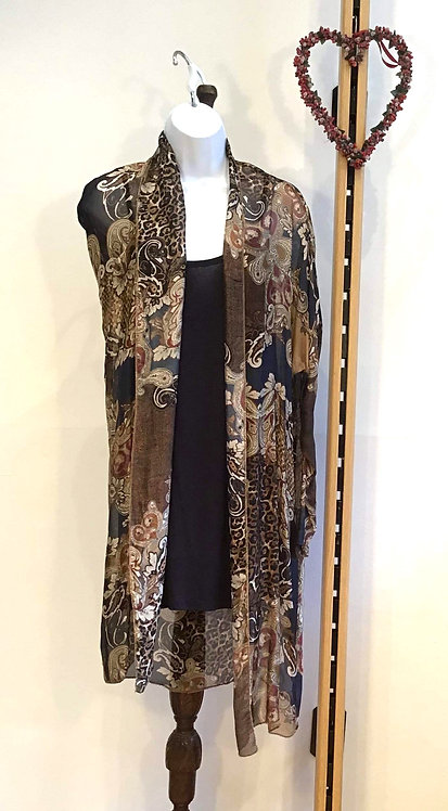 Long Line Top with Silk Over Coat Black
