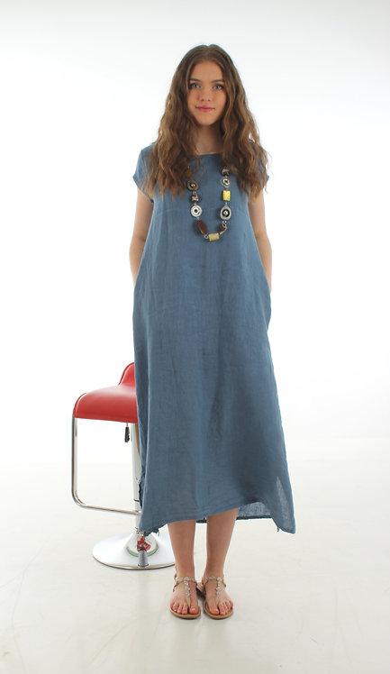 Cap Sleeve Dress Sea Blue