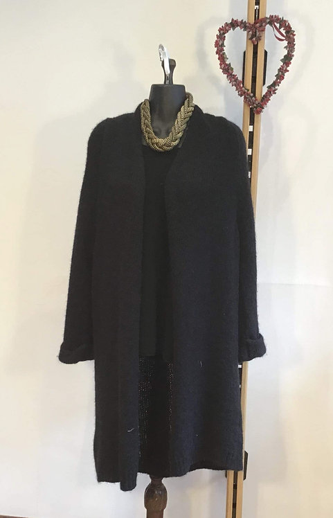 Long Woollen Cardigan Black