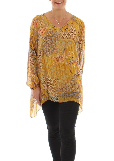 Long Sleeved Silk Top Mustard
