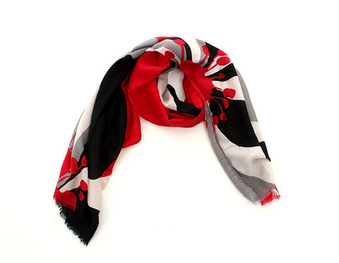 Flower Scarf Black, Grey and Red