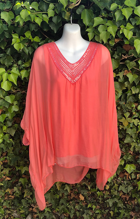 Three Quarter Length Sleeve Silk Top Coral