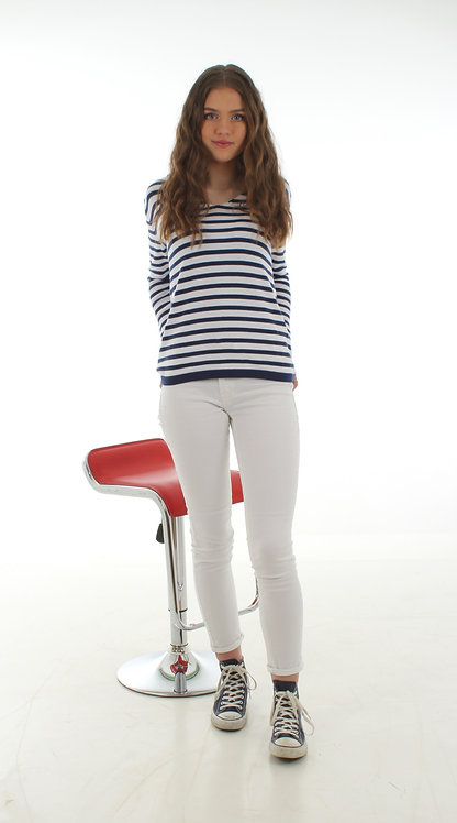 Stripe Jumper White and Navy