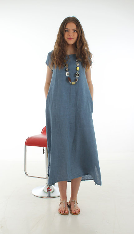 Cap Sleeve Dress Sea Blue
