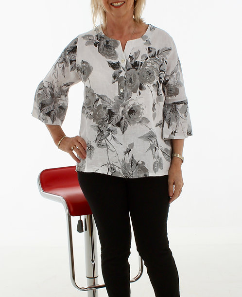 Bell Sleeve Linen Top White Floral
