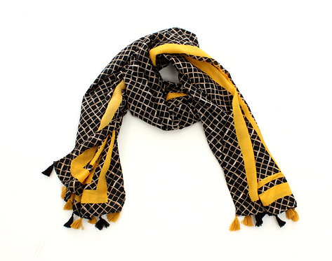 Diamond Scarf Black and Yellow