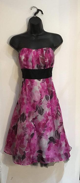 Pink Silk Strapless Dress