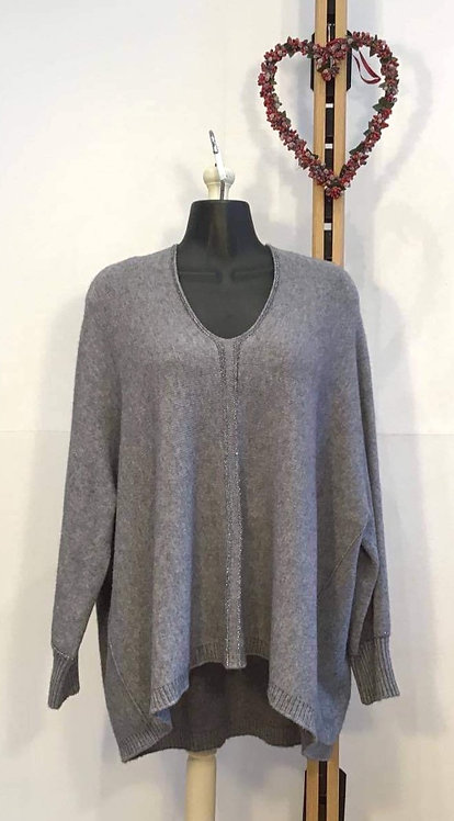 Dark Grey V Neck