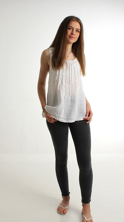 Pleated Linen Top White